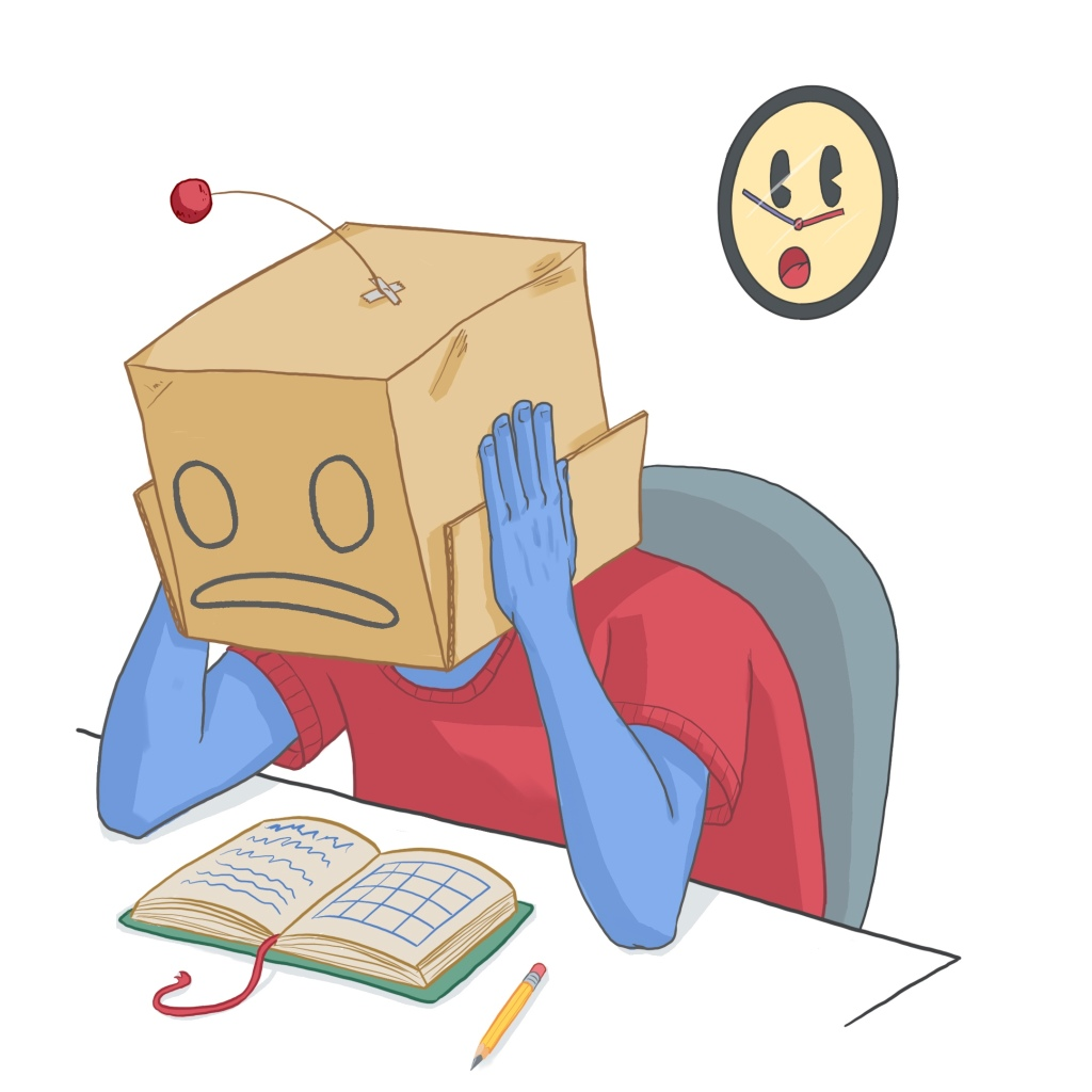 An illustration of a person with a cardboard box on their head sitting at a desk. The box has a worried face drawn on it, and they are holding the box like someone cradling their head. There is an open planner on the desk and a clock with a scared cartoon face behind them. The character is wearing a red shirt and has blue-tinted skin.